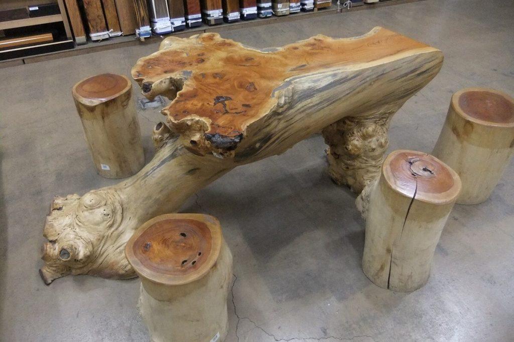欅自然木テーブルセット